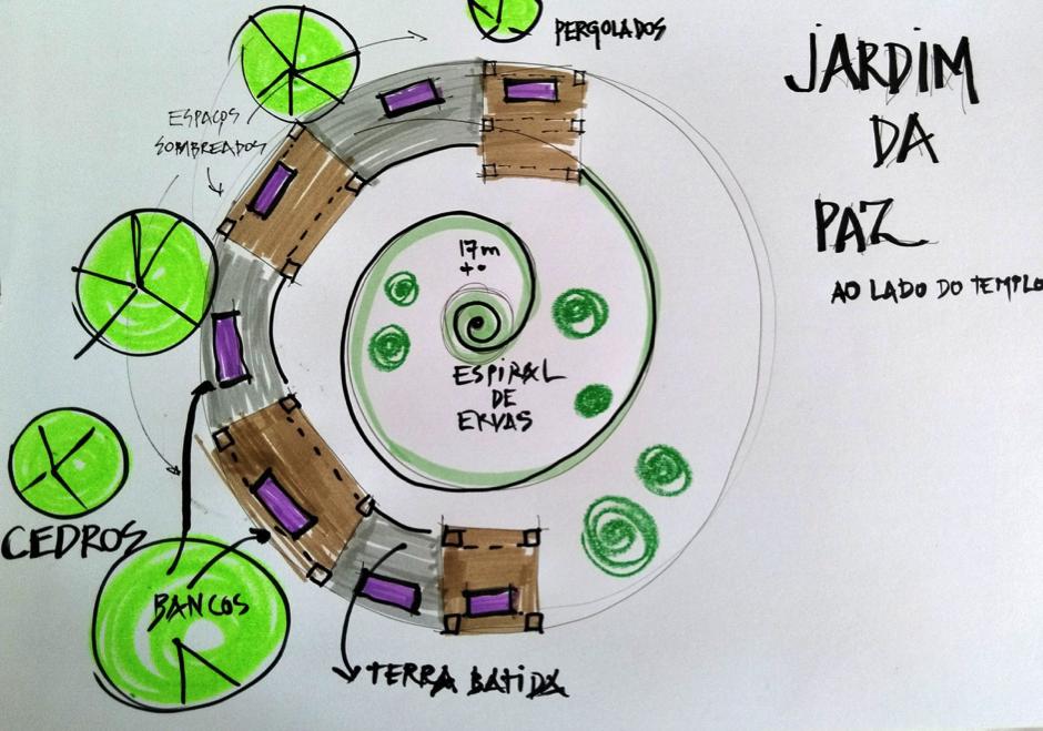 croqui desenho planta em espiral jardim da paz